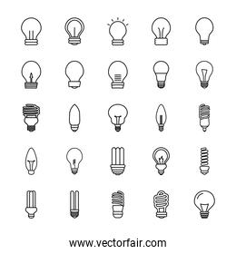 flame bulb light and bulb lights icon, line style