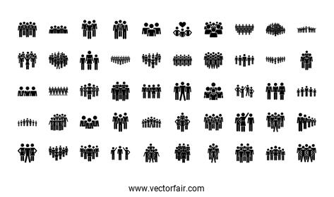 icon set of pictogram people, silhouette style