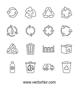 plastic bottle and recycling icon set, line style