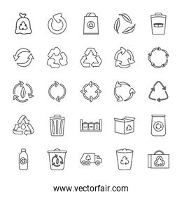 recycling truck and recycling icon set, line style