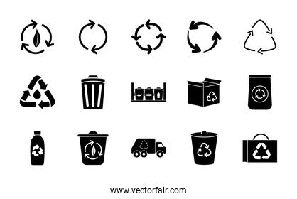 garbage truck and recycling icon set, silhouette style