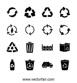 plastic bottle and recycling icon set, silhouette style