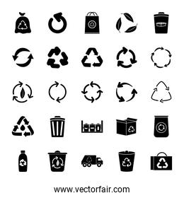 recycling truck and recycling icon set, silhouette style