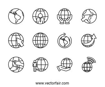 earth planet and global spheres icon set, line style
