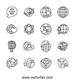 arrows and global spheres icon set, line style