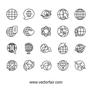 airplanes and global spheres icon set, line style