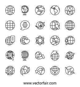 leaves and global spheres icon set, line style