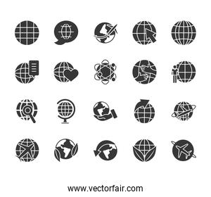 airplanes and global spheres icon set, silhouette style