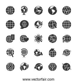 leaves and global spheres icon set, silhouette style