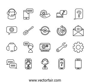 gear wheel and support service icon set, line style