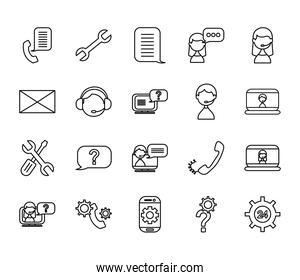 repair tools and support service icon set, line style