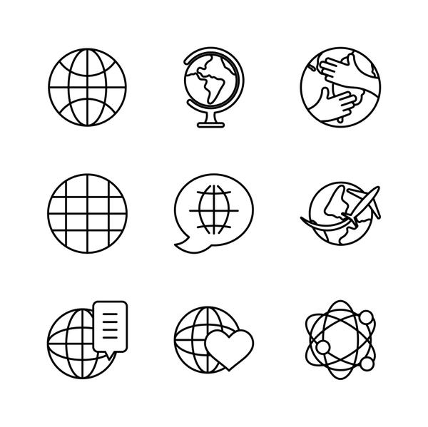 global network and world icon set, line style