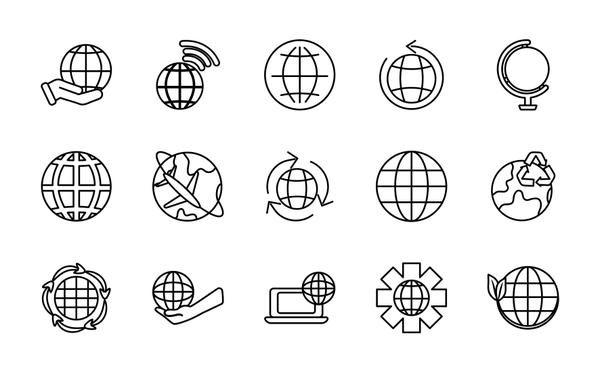 earth planet and world icon set, line style