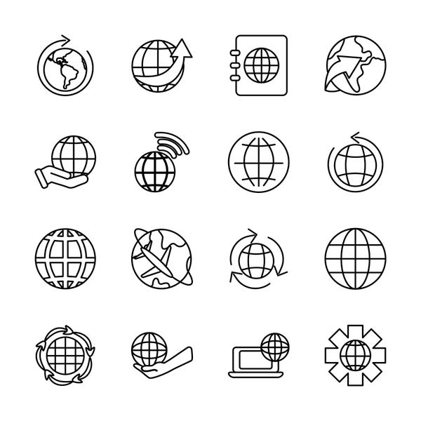 gear wheel and world icon set, line style