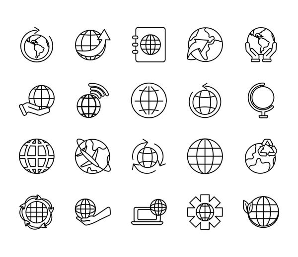 geography tool and world icon set, line style