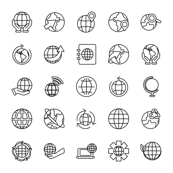 laptop computer and world icon set, line style