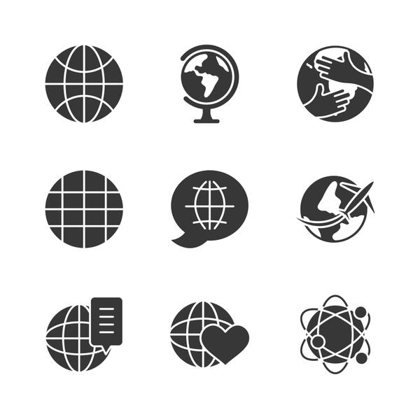 global network and world icon set, silhouette style
