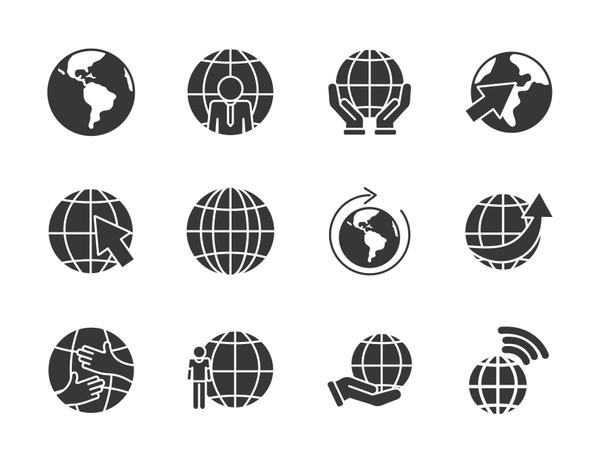 earth planet and global spheres icon set, silhouette style
