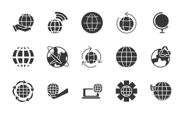 earth planet and world icon set, silhouette style