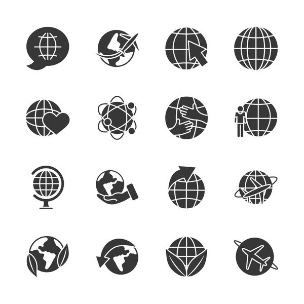 arrows and global spheres icon set, silhouette style