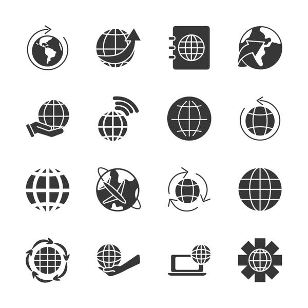 gear wheel and world icon set, silhouette style