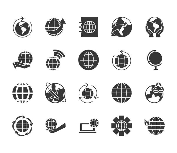 geography tool and world icon set, silhouette style