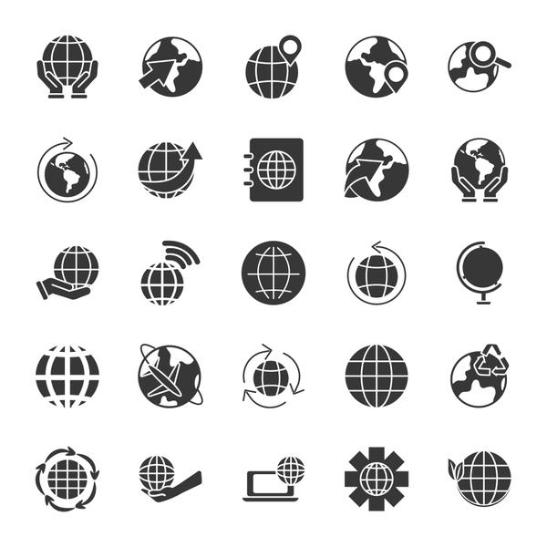 laptop computer and world icon set, silhouette style