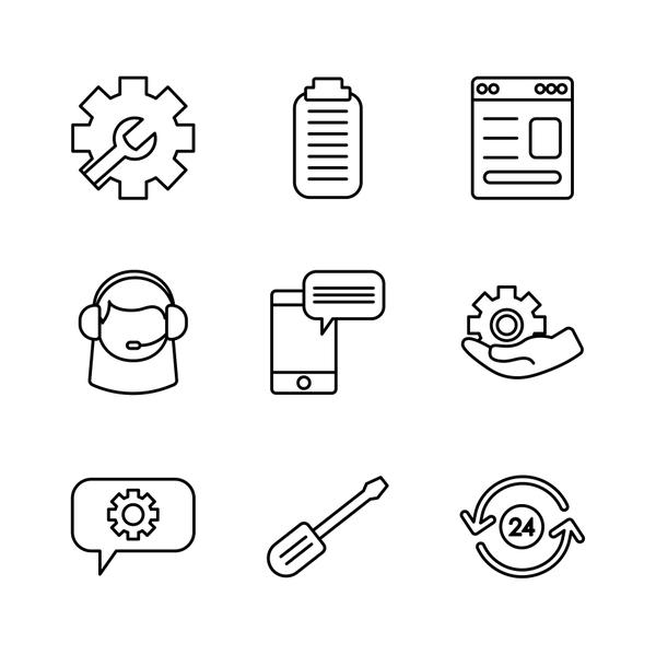 smartphone and support service icon set, line style