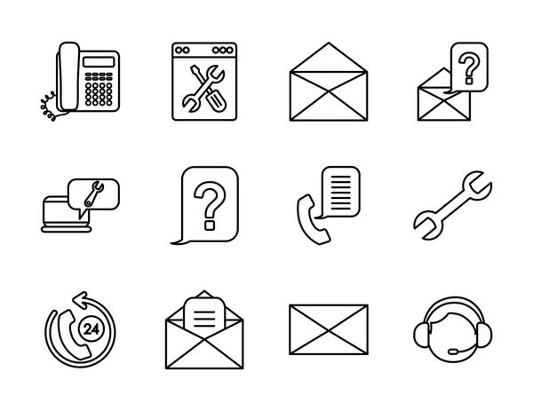 wrench tool and support service icon set, line style