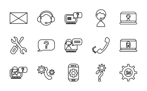 envelope and support service icon set, line style