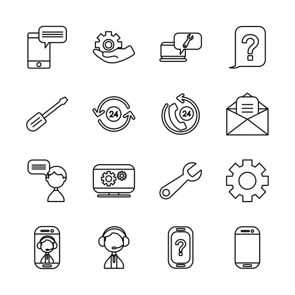 screwdriver tool and support service icon set, line style