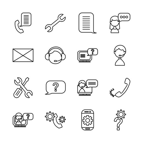question mark and support service icon set, line style