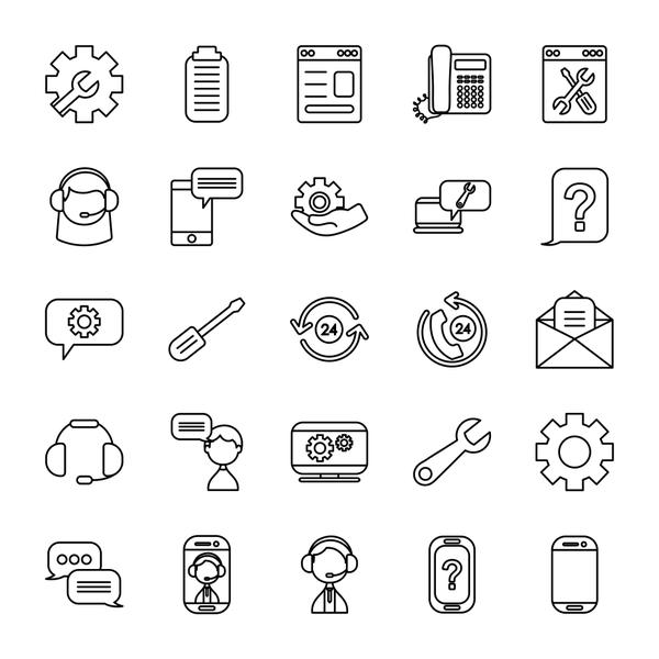 clipboard and support service icon set, line style
