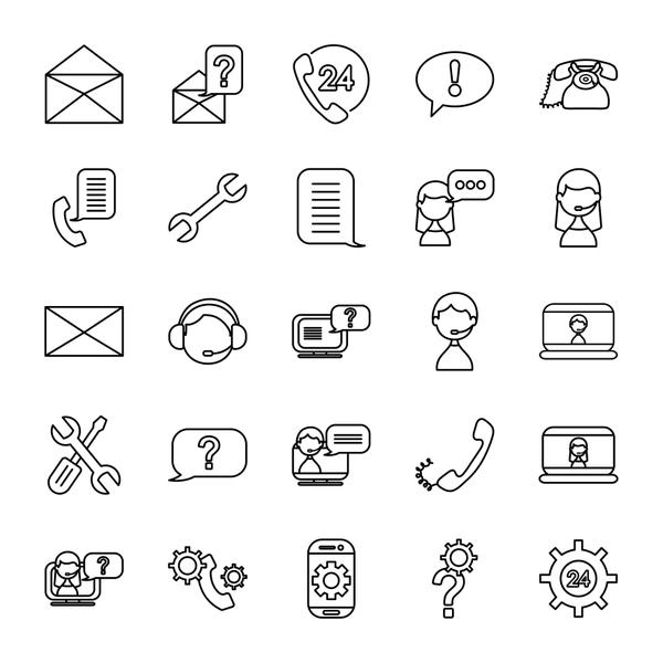 computers and support service icon set, line style