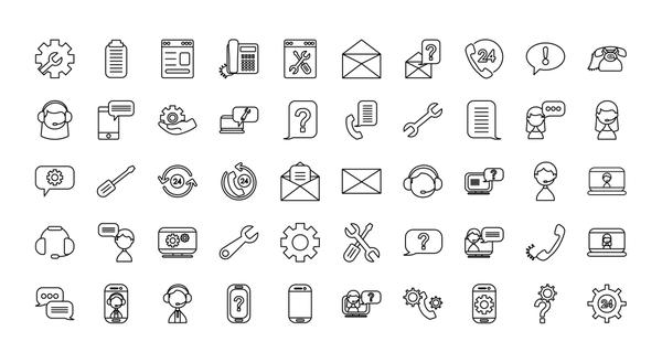 support service icon set, line style