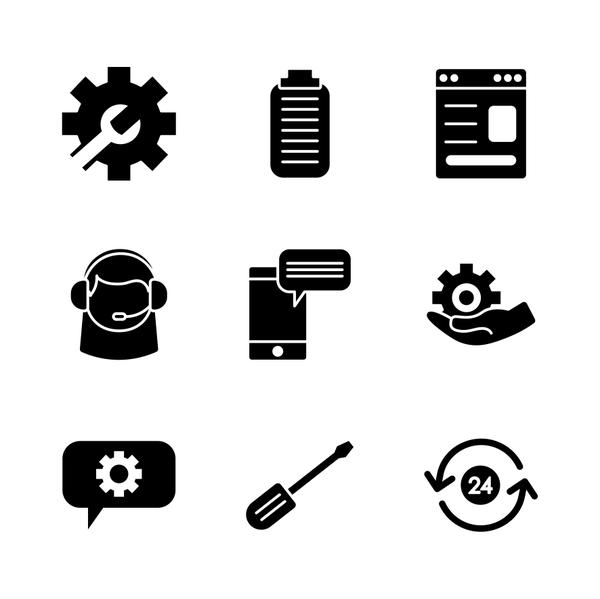 smartphone and support service icon set, silhouette style