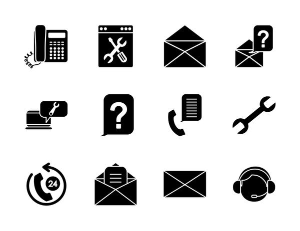 wrench tool and support service icon set, silhouette style