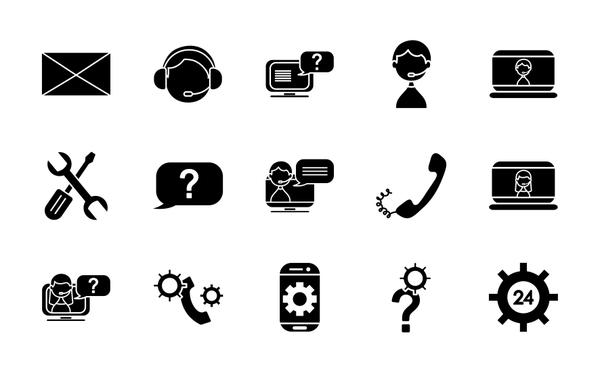 envelope and support service icon set, silhouette style