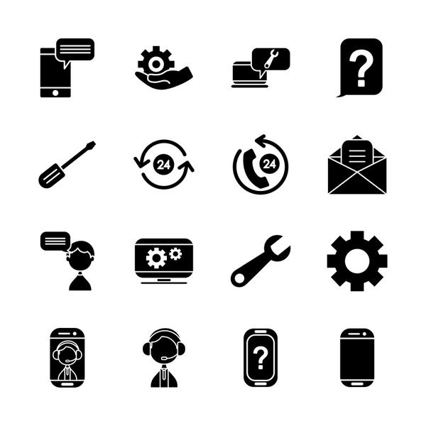 screwdriver tool and support service icon set, silhouette style