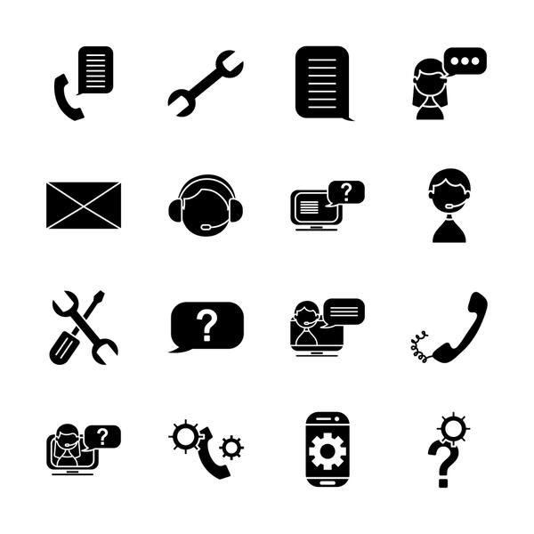 question mark and support service icon set, silhouette style