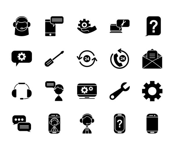 gear wheel and support service icon set, silhouette style