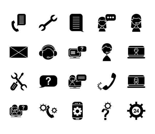 repair tools and support service icon set, silhouette style