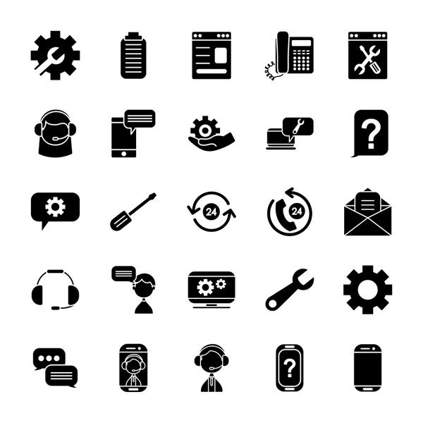 clipboard and support service icon set, silhouette style