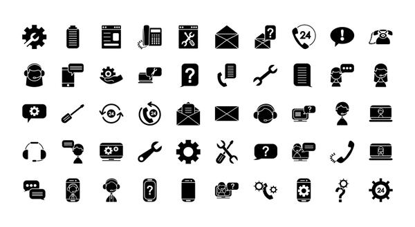 support service icon set, silhouette style