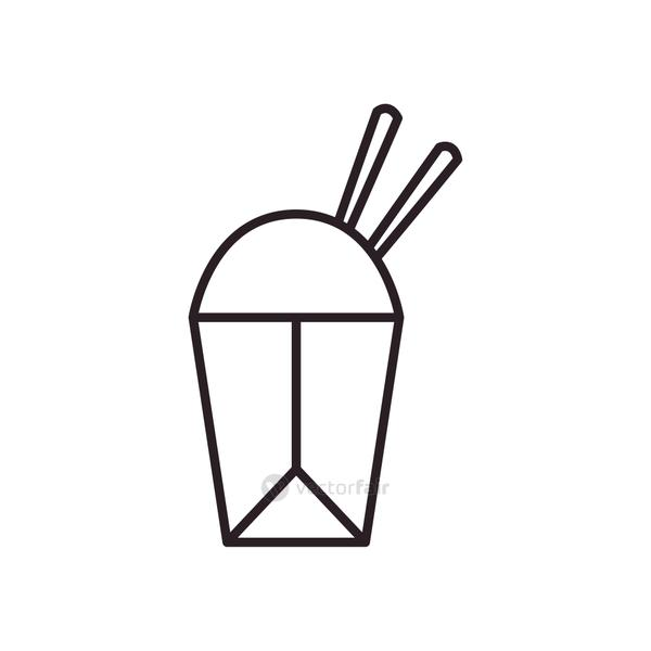 chinese rice box line style icon vector design