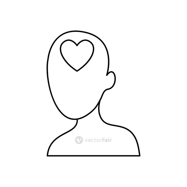 head with heart icon, line style