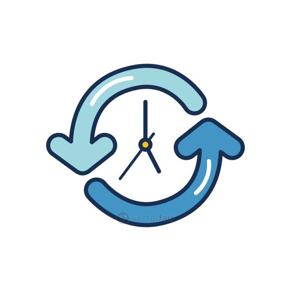 clock with sync arrows around, line fill style
