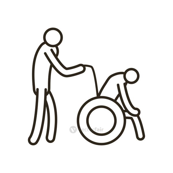 Isolated grandfather avatar on wheelchair with nurse line style icon vector design