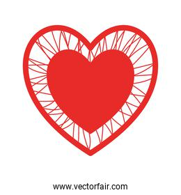 heart with crossing threads flat style icon vector design
