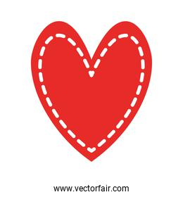 heart with lines flat style icon vector design